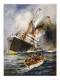 Abandon Ship! the Crew of a Torpedoed British Ship Take to the Boats as Their Vessel Keels Over Giclee Print by Charles J. De Lacy