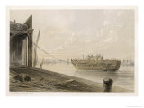 The Cable is Passed from the Works to a Hulk at Greenwich Giclee Print by Robert Dudley