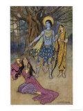 Rama the Seventh Avatar of Vishnu is Tempted by Shurpanakha a Rakshasa Giclee Print by Warwick Goble