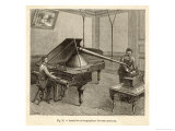 Recording a Man Playing the Piano Using Edison's Improved Model Phonograph Reproduction procédé giclée par P. Fouche