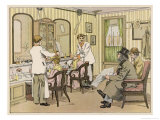 The Interior of a Barber&#39;s Shop: Customers Wait While Others are Attended To Giclee Print by Francis Bedford