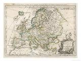 Europakarte Giclée-Druck von J. Gibson