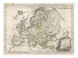 Map of Europe Giclee Print by J. Gibson