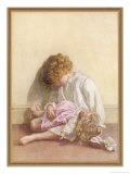Girl and Her Doll, Both Fast Asleep Giclee Print by Millicent E. Gray