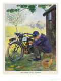 """The Finest of All Hobbies"", a Boy Tinkers with His Motor Bike Giclee Print by Algernon Fovie"