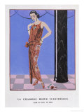 T-Bar Shoes and a Sleeveless Drop-Waist Dress with Sash Tie Giclee Print by Georges Barbier