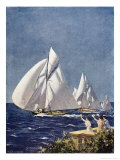 Scene at Cowes Regatta, Sailing Ships Fly Past as the Wind Fills Their Billowing White Sails Premium Giclee Print by T. Friedenson