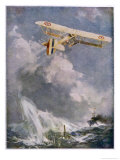 British Seaplane Attacks an Enemy Submarine Giclee Print by Frank H. Mason