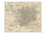 Map of Manchester and Its Environs Giclee Print by J. Bartholomew