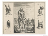 15th Century French Soldier with Full Armour and Various Helmets Giclee Print by  Benard
