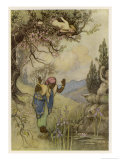 The Three Citrons' the Slave at the Well Giclee Print by Warwick Goble
