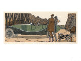 Couple in a Renault Pause to Exchange Chit-Chat with a Couple with Gun and Dogs and Gamekeeper Giclee Print by James De Coquet