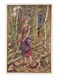 The Girl Chopping Wood in the Forest is Watched by the Knight Giclee Print by Henry Justice Ford