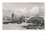Rebuilding London Bridge Giclee Print by George Cooke