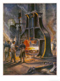 Steam Hammer at Work in a British Ironworks Making a Ship's Anchor Giclee Print by Charles J. De Lacy