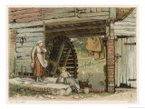 Two Girls Beside a Water Mill in Surrey England Giclee Print by Birket Foster