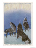 The Song of the Huskies: Howling Under the Aurora Borealis Giclee Print by Paul Bransom
