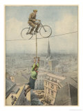 German Husband and Wife Team Perform a Dramatic Tightrope Cycling Act Gicleetryck av Achille Beltrame