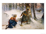 Hunter and Native Tracker Canada Reproduction procédé giclée par Frank Feller