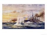 Battle of the Falkland Islands the Light Cruiser Kent Sinks the German Cruiser Nurnberg Giclee Print by Charles J. De Lacy