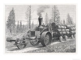 Sturdy Three-Wheeled Steam- Powered Traction Engine Used in the Timber Industry California Giclee Print by  Dietrich