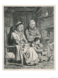 An Elderly Couple Listen Attentively to the Readings of an Industrious Young Boy Giclee Print by Geikie 