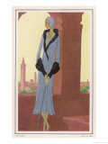 Lucien Lelong Grey-Blue Coat with Geometric Panels Flaring Hem and Deep Cuffs Giclee Print by Leon Benigni