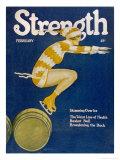 Strength: Girl Ice Skating over Barrels Giclee-tryk i høj kvalitet af W.n. Clyment