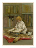 The Little Librarian a Girl Sits Premium Giclee Print by Harriet M. Bennett