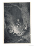"""Peter Pan, The Pirates: """"They Built a Fire Against the Side of a Great Log Giclee Print by Worth Brehm"""