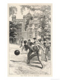 At Rugby School Boys at Rugby School Play Rugby Football in the School Grounds Giclee Print by Walter Thomas