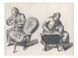 Two French Craftsmen Work on the Elaborate Upholstery on a Pair of Louis XV Style Fauteuils Giclee Print by  Benard