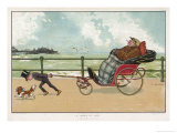 Very Small Boy Pulls a Very Large Relative Along the Esplanade of a Seaside Resort Giclee Print by Tom Browne