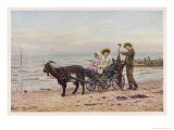 The Artist's Children in a Goat Carriage Ay Broadstairs Kent England Giclee Print by Helen Allingham