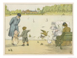 The Park Keeper at the Round Pond in Kensington Gardens Explains How Ducks Work to a Small Boy Giclee Print by Francis Bedford