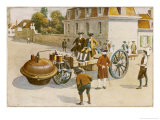 Cugnot Demonstrates His Steam Car Reproduction procédé giclée par Amedee Forestier