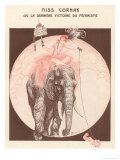 Circus Elephant and His Trainer Miss Cornak Reproduction proc&#233;d&#233; gicl&#233;e par Gesmar 
