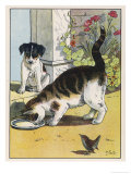Cat Drinks a Saucer of Milk at a Doorstep Whilst Watched by a Dog Premium Giclee Print by W. Foster