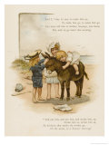 Small Child Clings to the Donkey's Mane While Her Brother Holds It by the Head Giclee Print by Harriet M. Bennett