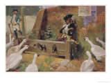 Malefactor Punished by Being Locked in the Village Stocks is Hissed at by Geese Giclee Print by Tom Browne