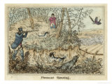 Pheasant, Two Men and Their Dogs Shoot from a Clearing Reproduction procédé giclée par Henry Thomas Alken