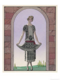 Tunic Dress by Worth in an Ornate Monochrome Print with Red Detailing Plain Central Panel Giclee Print by Georges Barbier