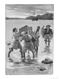 Captain Kidd Lands with His Crew and Treasure Premium Giclee Print by Sidney Cowell