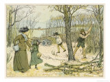 Mother and Daughter out for a Wintry Walk Pass the Woodcutters at Work Felling Trees Giclee Print by Francis Bedford