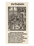 Interior of a German Book- Binding Workshop Reproduction procédé giclée par Jos Amman