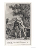 Jean-Jacques Embraces M De Luxembourg in a Transport of Tenderness Giclee Print by Dupreel