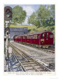 Northern Line Train on It's Way to Kennington Via Charing Cross Emerges Overground from a Tunnel Giclee Print by Raymond Way