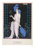 Asymmetrical Evening Gown by Worth with a Low Diagonal Waistline and a Long Flowing Train Reproduction procédé giclée par Georges Barbier