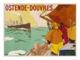The Ostend, Dover Cross Channel Ferry is Watched by North Sea Fishermen Giclee Print by H. Cassiero