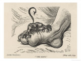 Little Devil Sinks His Teeth into the Swollen Foot of a Gout Sufferer Giclee Print by James Gillray